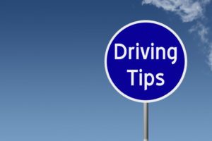 sign with text driving tips