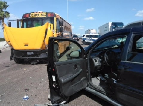 Five Vehicle Accident Involving School Bus Sends Many to the Hospital