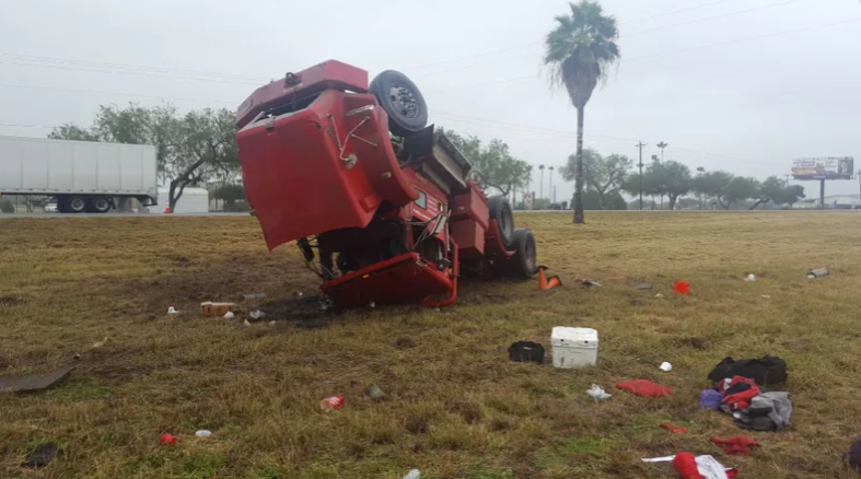 A Tractor-Truck Rollover Sends One to the Hospital
